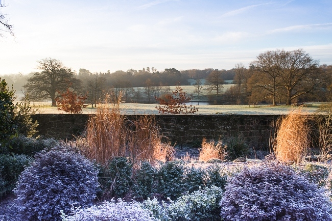 View of parkland and lake from the Italianate garden at Borde Hill in winter