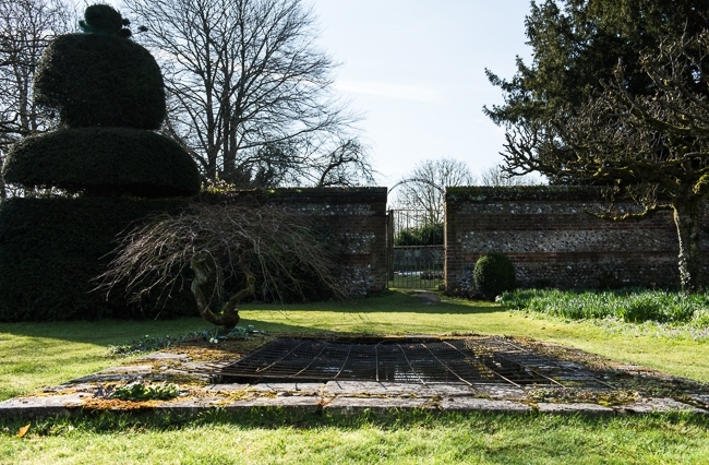 Wire mesh over rectangular pond to protect fish from herons on upper lawn, entrance to vegetable garden behind